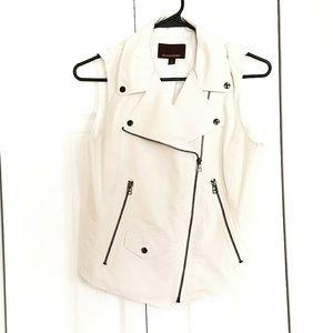 White Linen Moto Vest